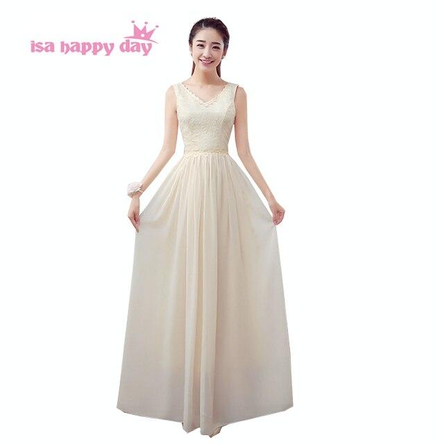 9f2cb92f949741 Eenvoudige bridesmade champagne gekleurde v-hals bruidsmeisjes lange jurken  2017 een line chiffon bruidsmeisje jurk