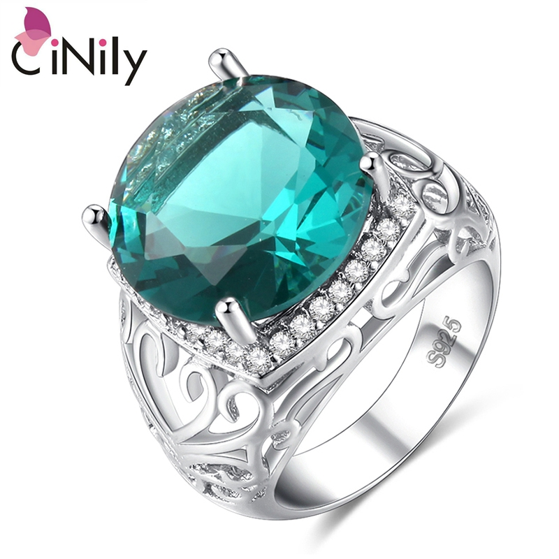Cinily Jewelry Stone Ring-Size Wedding-Engagement Silver-Plated Green Fashion Women Zirconia