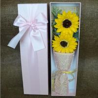 5pcs Artificial Flower Sunflower Soap Petals With Ribbon Gift Box For Wedding Party Christmas Birthday Souvenirs Gifts Favor