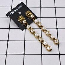 Baroque earrings for women Pearl Linear Lion Head Earrings Gold Dangle drop earings Exaggerated Eardrop Oorbellen Aretes Brincos
