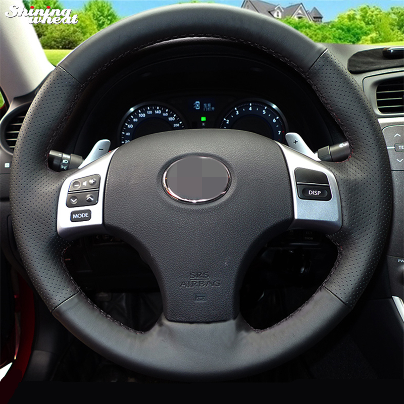 Shining wheat Hand stitched Black Leather Steering Wheel Cover for Lexus is250 Car Special