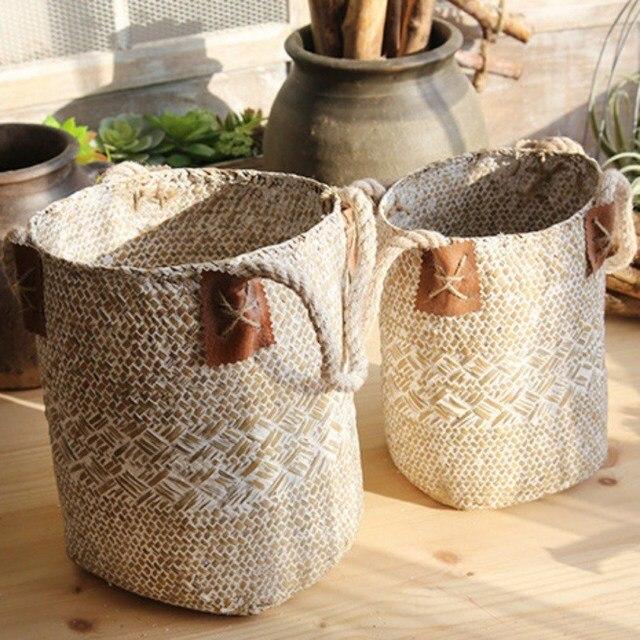 Casa e Jardim De Armazenamento Seagrass Cesto de roupa suja Dobrável Cestas Cestas de Suspensão Vasos de Flores Plantador Do Rattan Organizer 2018