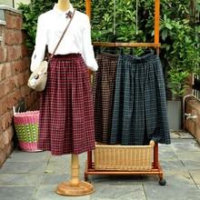 HOT SALE Long Vintage Preppy Japanese Style School Uniform Plaid Elastic Waist A line Tartan Skirt
