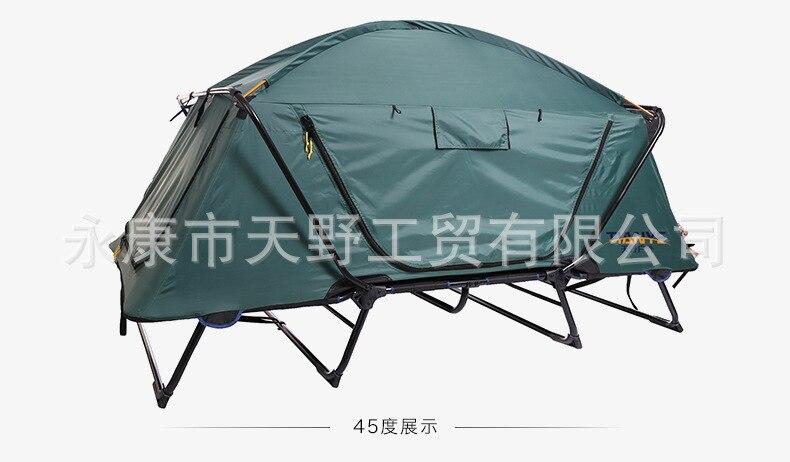 Randonnée en plein air Camping tente lit de haute qualité Double couche Oxford Sunshelter pliant hors sol tente bâtiment libre grand espace