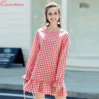 Quintina 2017 New Spring And Fall Temperament Red Plaid Vestidos Women Long Sleeve A Line Dress