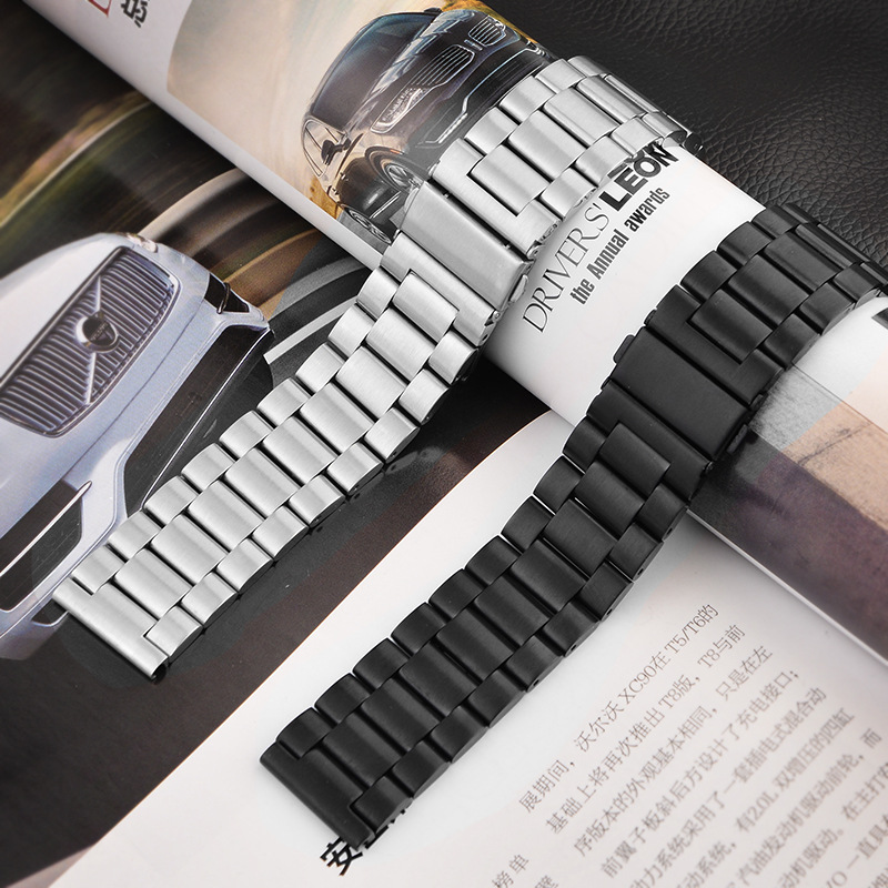 16mm 18mm 20mm 22mm 24mm Stainless Steel Watch Band Strap Bracelet Watchband Wristband Folding Black Silver Black Metal Belt