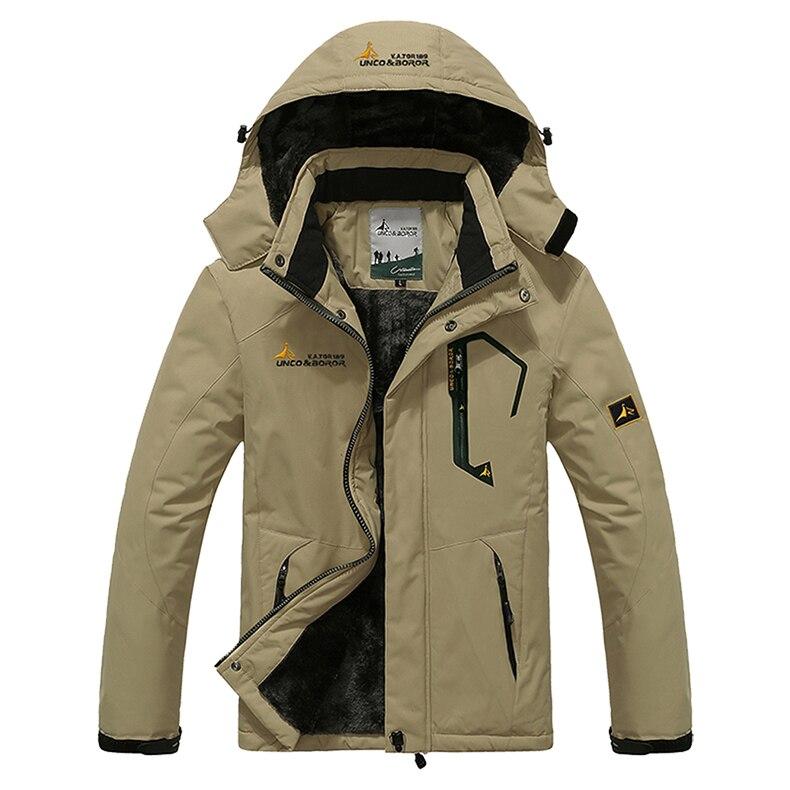 TACVASEN Winter Men Jacket Waterproof Hooded Fleece Jacket Coat Outerwear Man Casual Jacket Thermal Windbreaker Plus Size 6XL