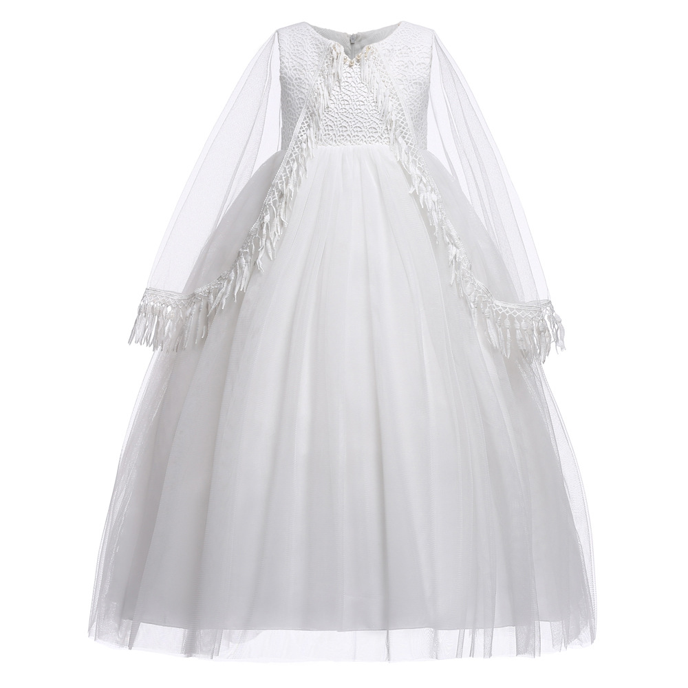 Children Christmas Dress Shawl For Girls Princess Dress White Long Graduation Dresses Carnival Costume For Kids Party Clothing
