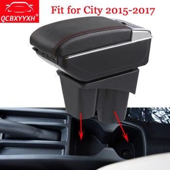 QCBXYYXH style de voiture ABS accoudoir de voiture boîte Console centrale de stockage support de la boîte étui adapté pour Honda City 2015-2017 accessoires Auto