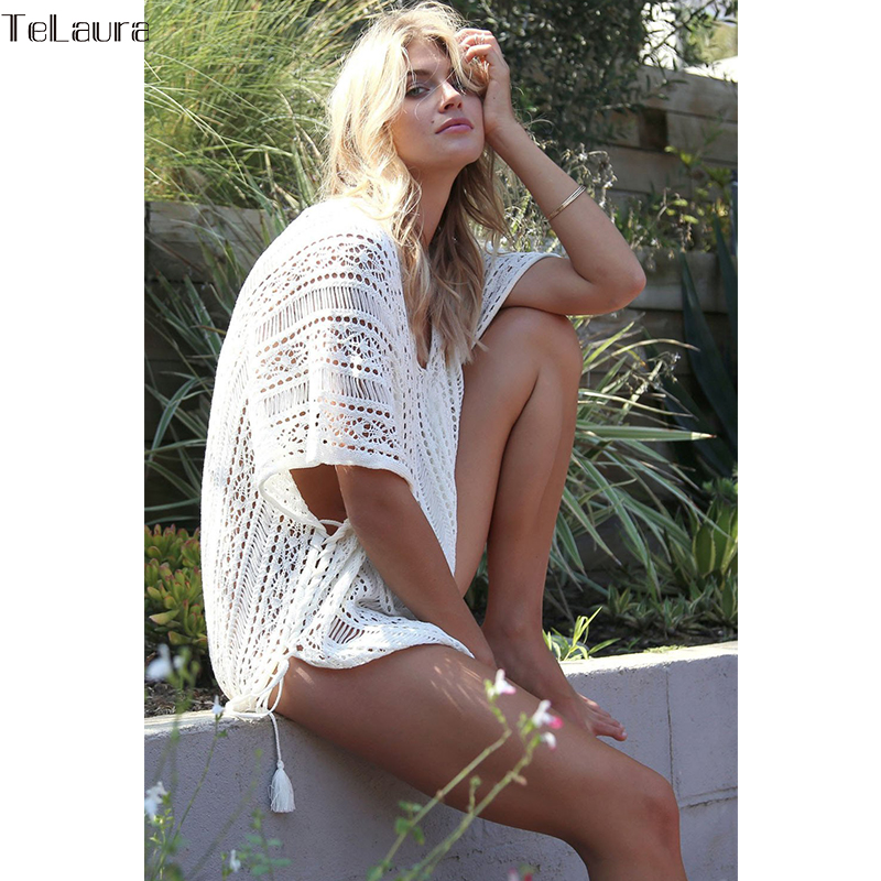 45763194173cd 2018 New Beach Cover Up Bikini Crochet Knitted Tassel Tie Beachwear ...