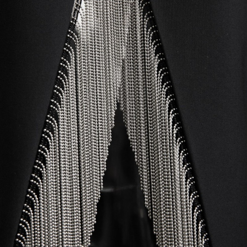 Perles Black Bureau Collier Noir Manteau Blazer Femmes Harajuku Retour Dames Parti Châle Gland Veste Irrégulière Formelle Seul Bouton pfxgIq