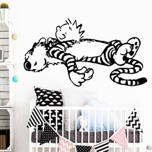 Carved calvin and hobbes dancing Wall Sticker Waterproof Vinyl Wallpaper Decor For Kids Room Bedroom Decoration Decal
