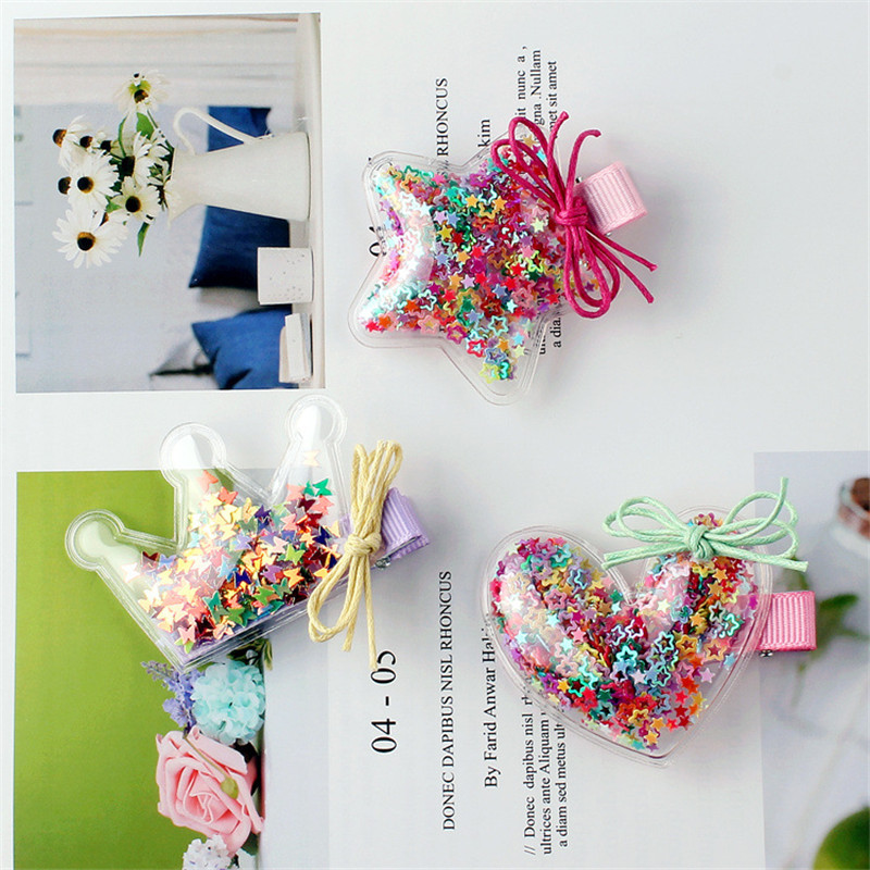 New Transparent PU with Colorful Sequin Filler Girls Hair Clips Kids Stars Crown Love Hairpin Accessories