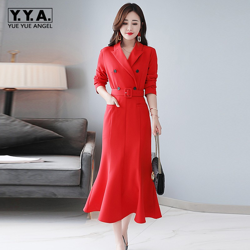 Sensible 2019 New Ol Women Double Breasted Blazer Dress Wrap Fishtail Dresses Belted Bodycon Office Ladies Business Mid Calf Long Dress Colours Are Striking Dresses