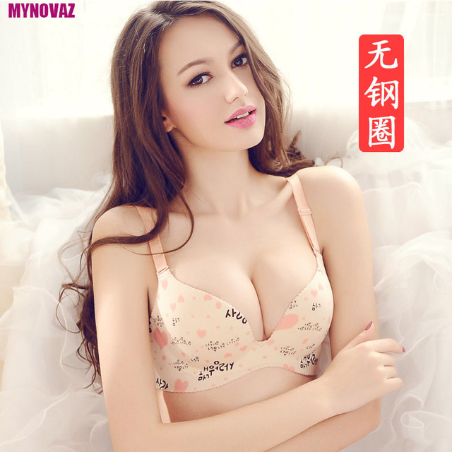 62a35a06cf955 No Trace Of Ladies Sexy Lingerie One Piece Sexy Bra Comfortable Womens  Underwear Push Up Plus Size Bra Korean Character Printing