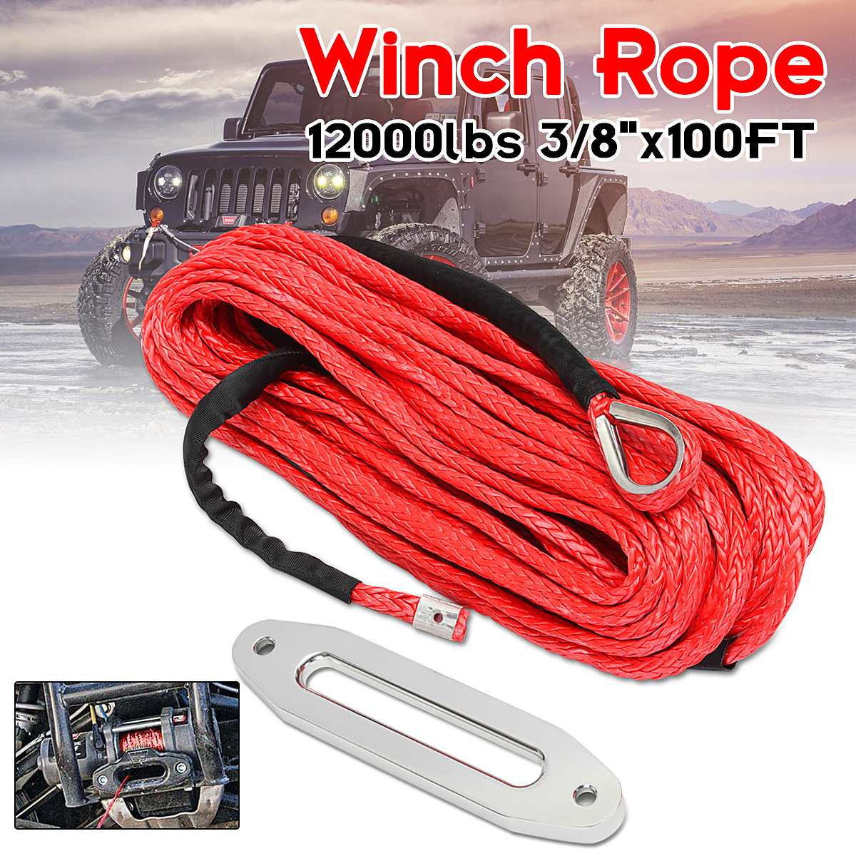 Newest 12mm*30m Synthetic Winch Line Cable Rope 12000 LBs with Sheath Vehicle Car Wash Maintenance String for ATV UTV Off Road
