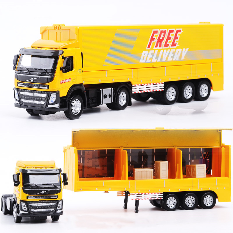 Interesting 1:50 Container Truck Alloy Models,collection Engineering Models,children's Sound And Light Car Toys,free Shipping