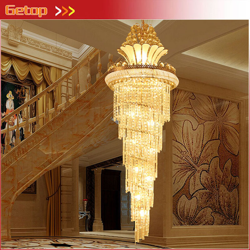 ZX Modern Crystal LED Pendant Lamp Luxury Staircase Large Chandelier Modern Double Stairs Living Room Hall Lights Free Shipping