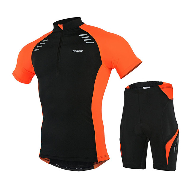 ARSUXEO Mens Cycling Road Ride Cycle Short Sleeves MTB Jersey Bike Bicycle  uniforms Shirts Clothing Sets 42bd27054