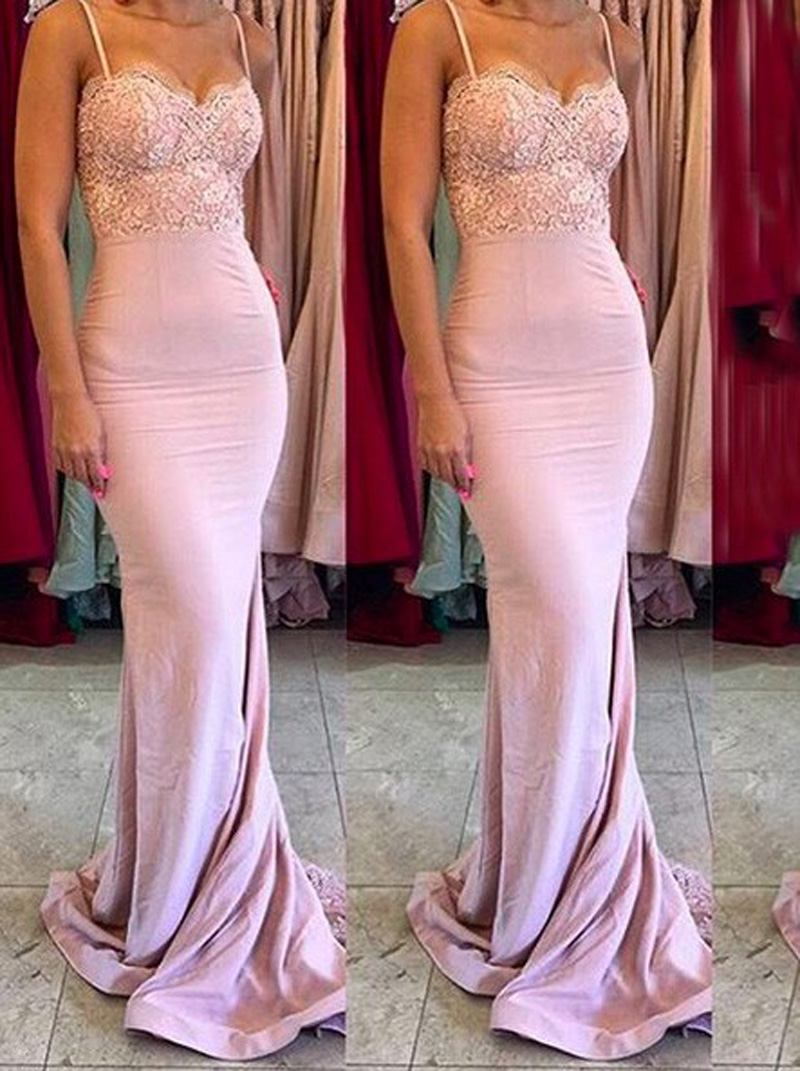 Aliexpress buy vestido madrinha long pink bridesmaid dresses aliexpress buy vestido madrinha long pink bridesmaid dresses elegant spaghetti strap sweetheart mermaid wedding party dress with tulle train b8 from ombrellifo Images