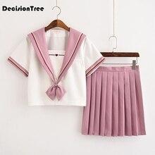 2019 summer japaneseschool uniform korean school uniforms girl cute sailor tops skirt full set cosplay jk costume