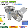 Super Bright GU 10 Bulbs Light Dimmable Led Warm/White 85-265V 6W 9W 12W GU10 E27 MR16 COB LED lamp light GU 10 led Spotlight