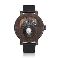 Creative Compass Turntable Number Design Mens Wooden Watch Men Brown Wood Leather Band Unique Natural Wood Wrist Watches Rel