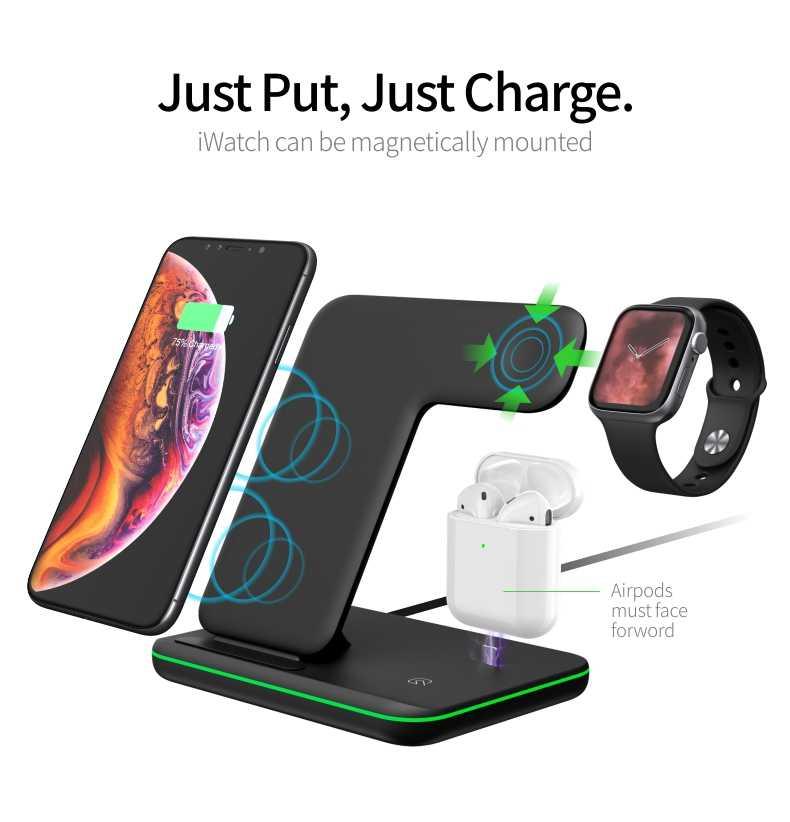 Cargador inalámbrico Universal 15W Qi para Iphone X 8 Xiaomi carga rápida 3,0 soporte de base de carga rápida para Apple Airpods Watch 4 3 2 1
