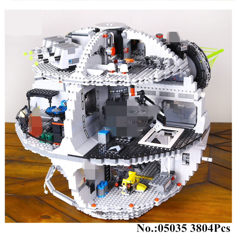 IN STOCK H&HXY 3804pcs 05035 Death Star Building War Block Bricks Toys Kits Compatible 10188 Educational Gift for Children lepin lepin 05035 star wars death star limited edition model building kit millenniums blocks puzzle compatible legoed 75159
