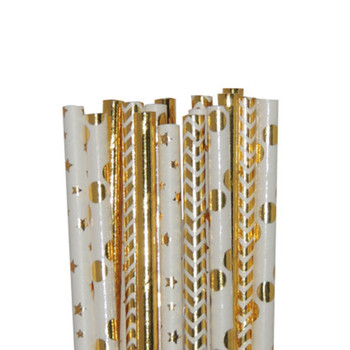 500pcs Gold Foil Paper Straws Metallic Gold Striped Star Dot Chevron Paper Straws for Wedding Baby Shower Birthday Bridal Decor