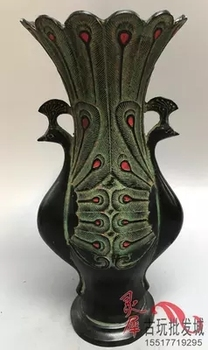 Quality ancient antique bronze wares, peacock vases, Royal antique ornaments in the Han Dynasty
