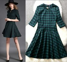 NEW FASHION WOMEN Spring DRESSES Plaid Dress Three Quarter Sleeve Women Dress WOMEN AUTUMN UNDER DRESSES L208