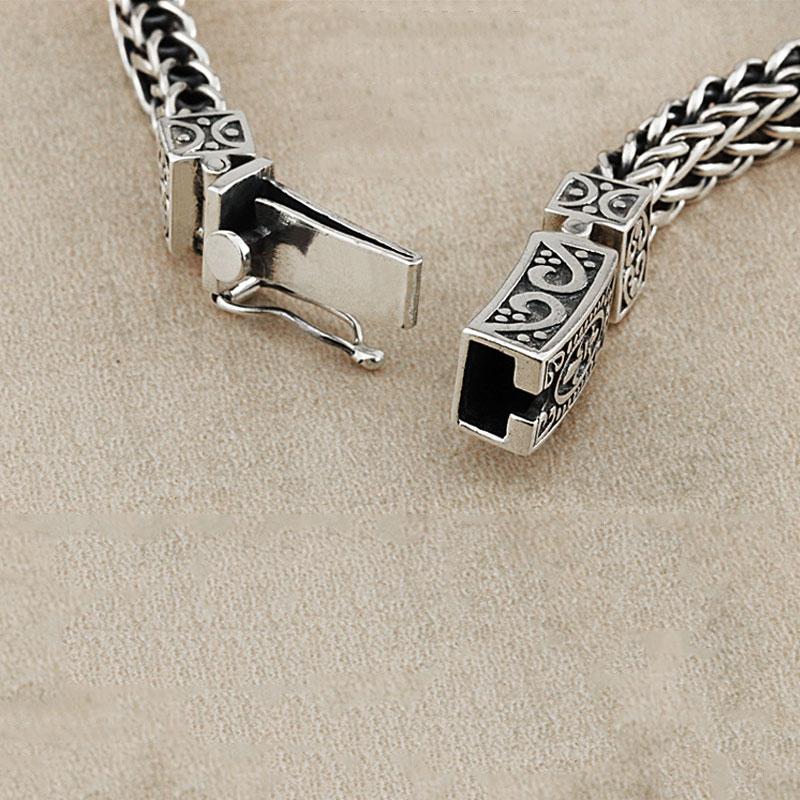 Настоящее серебро 925 проба браслет для мужчин и женщин ширина 8 мм Винтаж Панк Рок проволока цепочка из звеньев и браслетов тайское серебро ювелирные изделия - 3