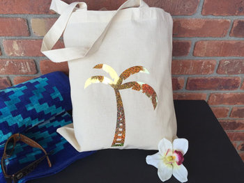 Personalized  palm tree tote bags wedding gift Bags Bachelorette bridal shower Champagne Party favors pouches