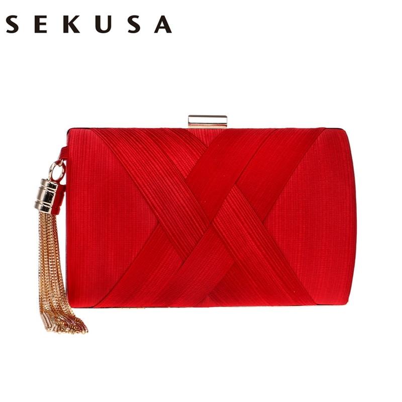 SEKUSA Clutch Handbag For Women Evening Party Shoulder Bags Casual Crossbody Bag Ladies Hard Case Box Clutch Bag For Party Purse