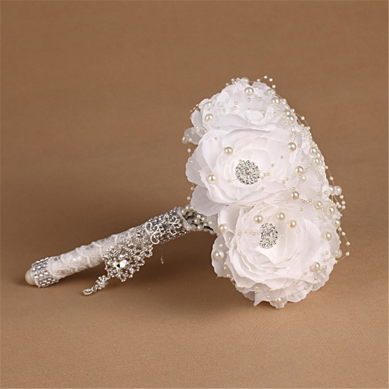 Elegant Bridesmaid Flower Wedding Bouquet Artificial Buquet de noivas Handmade White Beaded Bridal Bouquets Brooch (1)