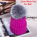 New Autumn Winter women cap real fox fur ball hat Pom poms 12CM knitted cap female thick protect ear warm Lady Beanies Headgear