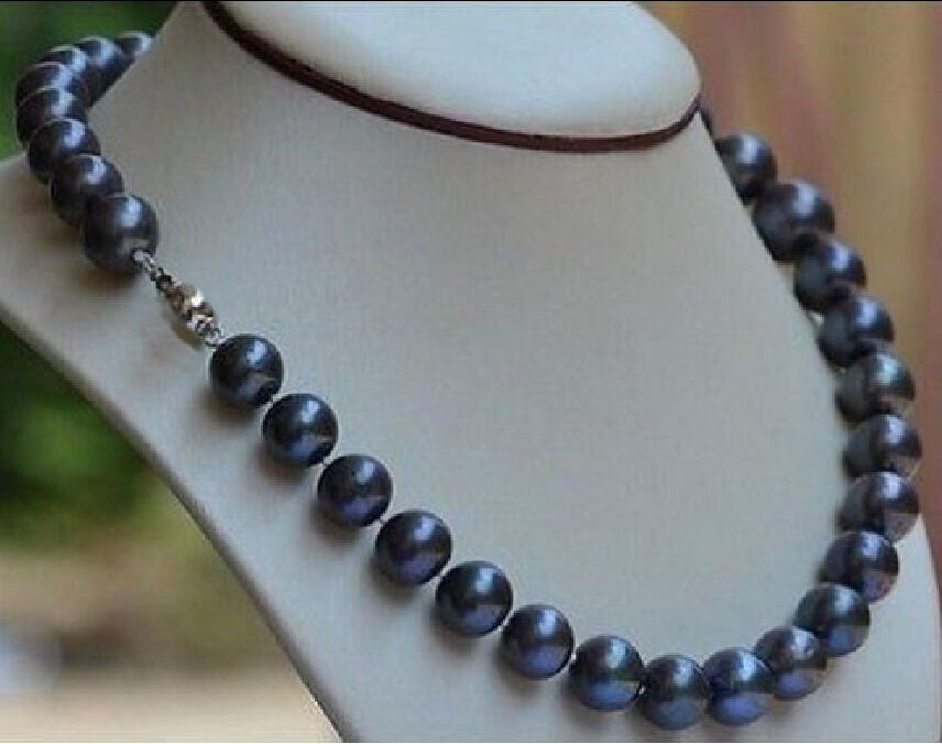 Free shipping@@@@@ natural 10-11mm black blue south sea pearl necklace 18 inch r a free shipping alongest 65 genuine natural 11mm black round pearl necklace f1544 a