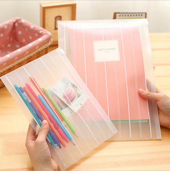 1 Pieces New Transparent Solid Color stripe pouch bag case cute Korean Office School Filing Products Document 1