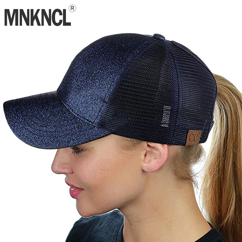2018 Glitter C.C Ponytail Baseball Cap Messy Bun Summer Mesh Caps For Women Sequins Shine Snapback Hats Hip Hop Trucker Dad Hat 2018 cc denim ponytail baseball cap snapback dad hat women summer mesh trucker hats messy bun sequin shine hip hop caps casual
