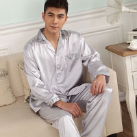 2017 New Spring Autumn Silk Men Pajamas Set Quality Soft Casual Lover Sleepwear Male Nightwear Chinese