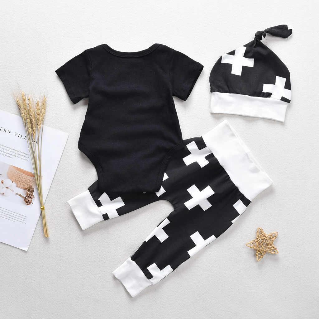 Conjunto de ropa para bebé y niña, camisa con estampado de letras, mono de algodón, pantalones, sombrero, conjunto de 3 piezas, ropa para niños, bebé bonito conjunto de ropa de niño