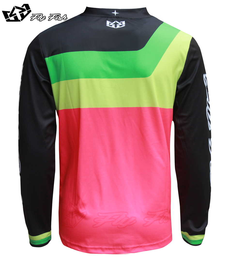FLY FISH Racing GP Mens Jersey PRISMA Flo Pink MX MTB Off Road Mountain Bike moto Jersey DH BMX motocross jersey in Shirts Tops from Automobiles Motorcycles