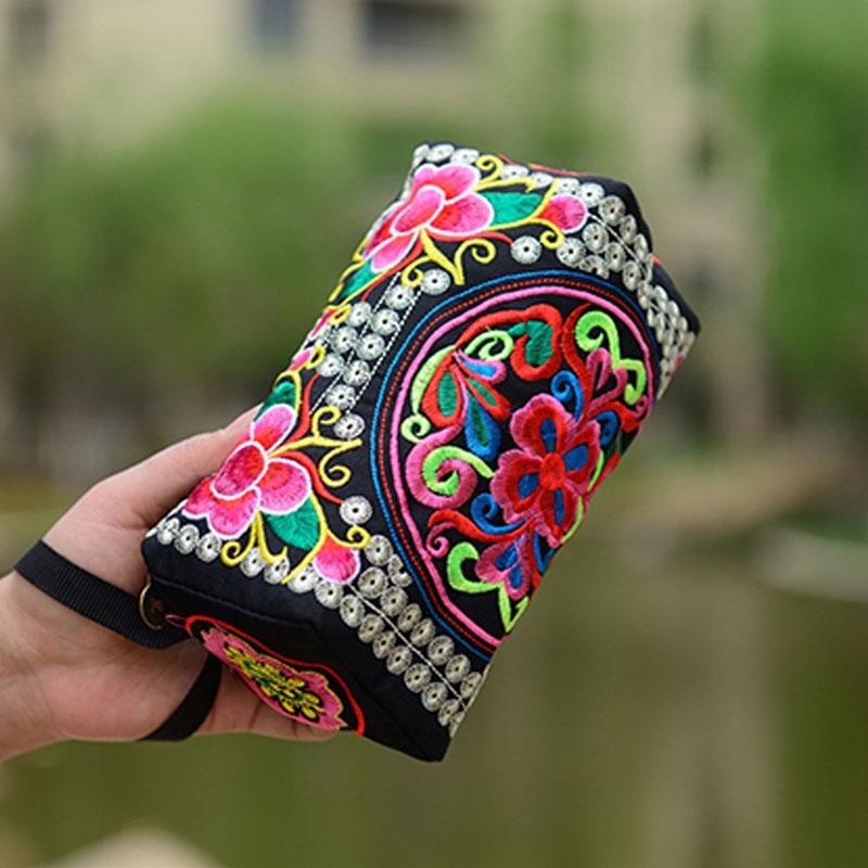 Handbag Purse Flowers Embroidery Female Bag Ethnic Long Women OH66 National Wallet Phone