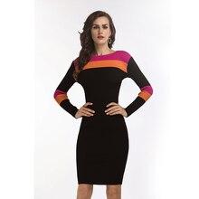 Mumuzi тонкий Для женщин вязаное платье бордовый 2018 Контрастность Цвет Для женщин трикотаж Платья для женщин Элегантный империи клуб платье