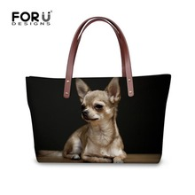 FORUDESIGNS Kawaii Chihuahua Design Women Handbags Casual Female Large Tote Bags Luxury Shoulder Shopping Bag for Birthday Gifts