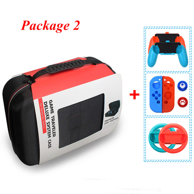 Nintend Switch NS Accessories Console Carrying Storage Bag Hard Case Joystick Handle Grips + Silicone Case for Nintendo Switch 5