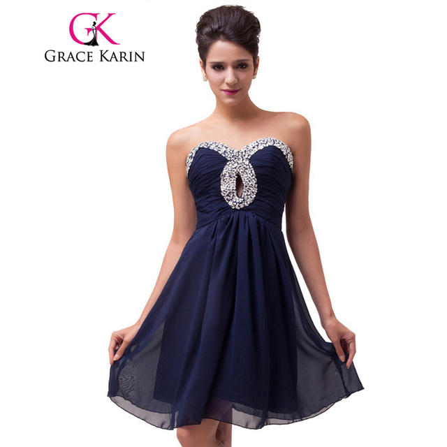 Grace Karin Cute Short Navy Blue Prom Dresses Ruched Sequin Dance ...