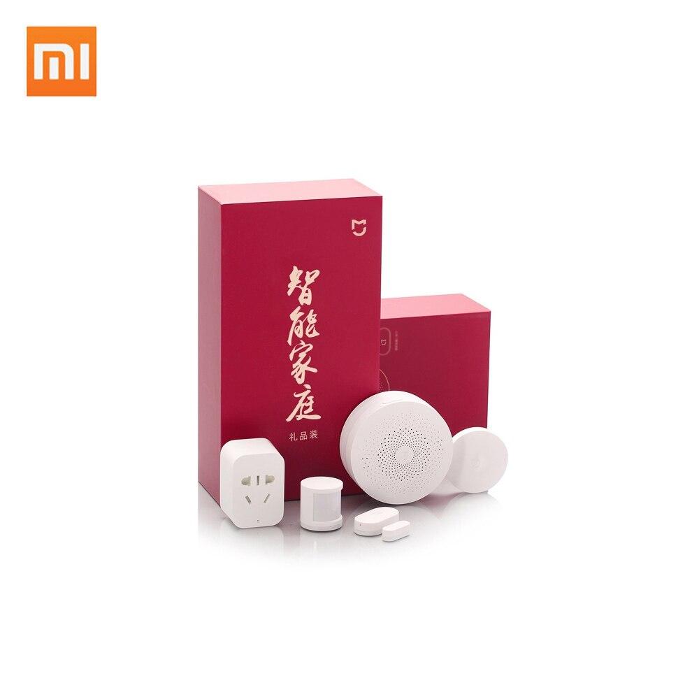 Оригинальный Xiaomi Mijia умный дом Комплект Подарочная коробка есть шлюз двери окна человеческого тела беспроводной переключатель Zigbee розетка ...