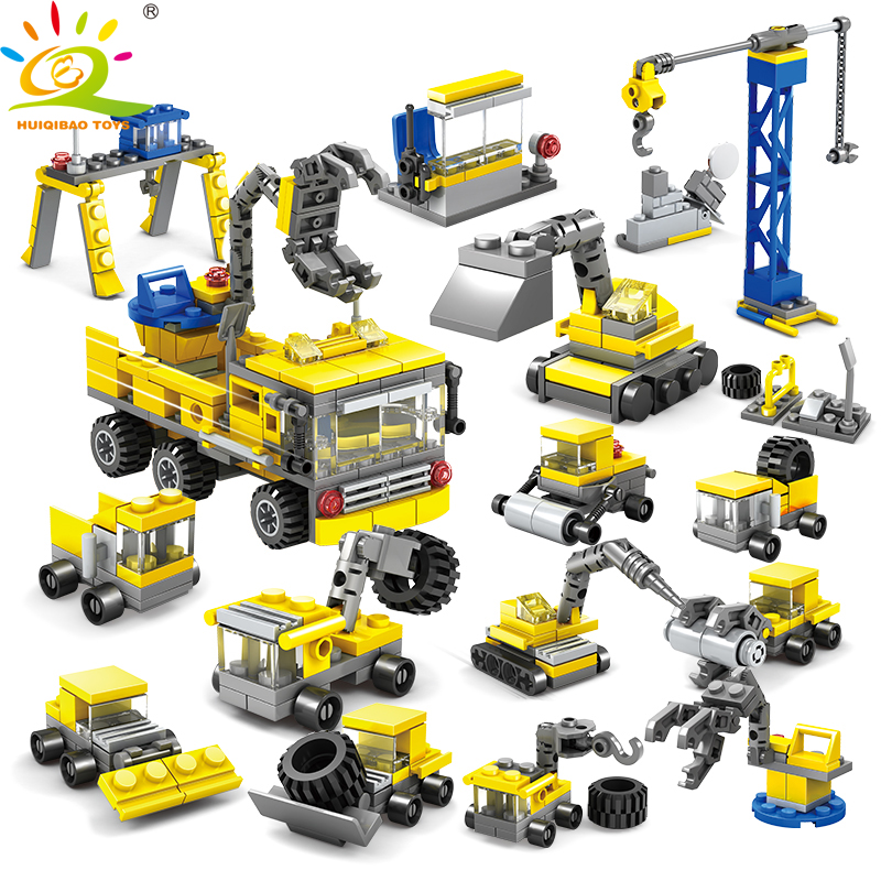 все цены на 318pcs DIY Construction Engineering vehicles excavator Model Building Blocks Compatible Legoed city Children brick Toys for boy онлайн